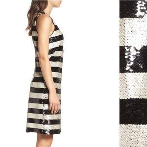 Eliza J Dresses - Eliza J. Reversible Stripe Sequin Shift Dress NWT